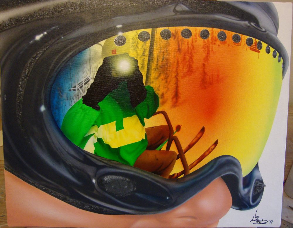 Airbrushed Fine Art Portrait Painting Skiing