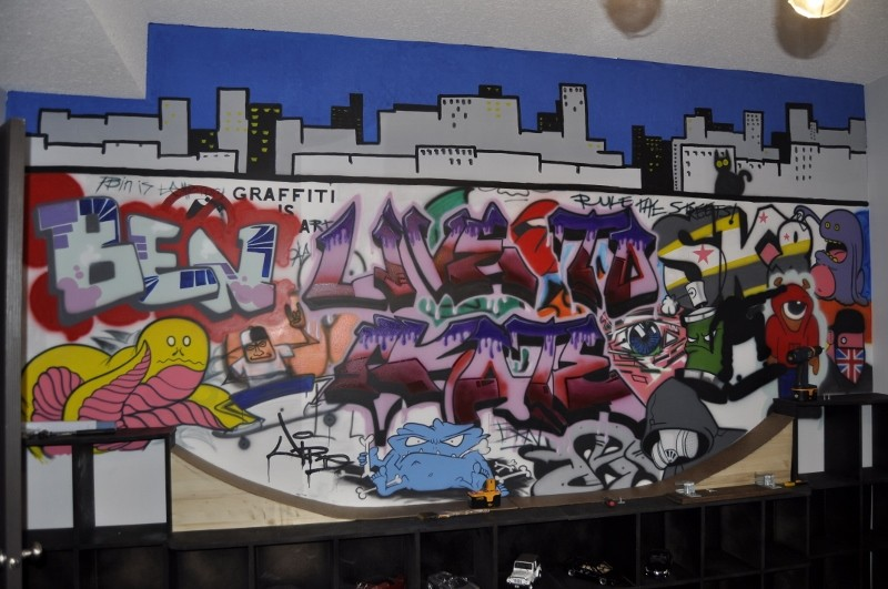 Skater Graffiti themed Mural