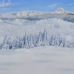 Airbrushed landscape painting of Sun Peaks
